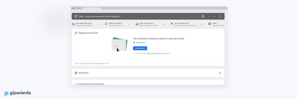 ab test variant maken in google optimize